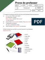 6 Ano Fundamental Ingls 1 Bim 2010 Verso Do Professor