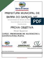 Concurso Barra Garcas 2006 Caderno Professor Matematica