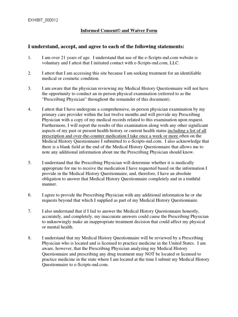 evidence informed consent patient responsiblity agreement