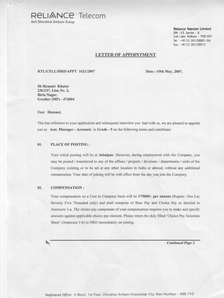 appointment letter of reliance communication Offer letterpdf rispl 1 reliance integrated services pvt ltd reliance  communications ltd fortune 2000, c-3, g - block mumbai circle,1st.