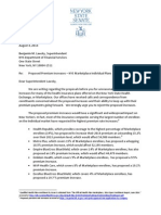 Letter to NYS-DFS Regarding Health Insurance Premium Increases