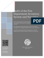 City Auditor Audit Fire Department Inventory System Narcotics