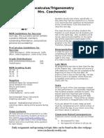 course description precalculus - czechowski fall 2014