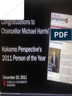 Michael Harris IU Kokomo, Chancellor Recognized, Person of the Year Kokomo Perspective, פרופסור מייקל הריס