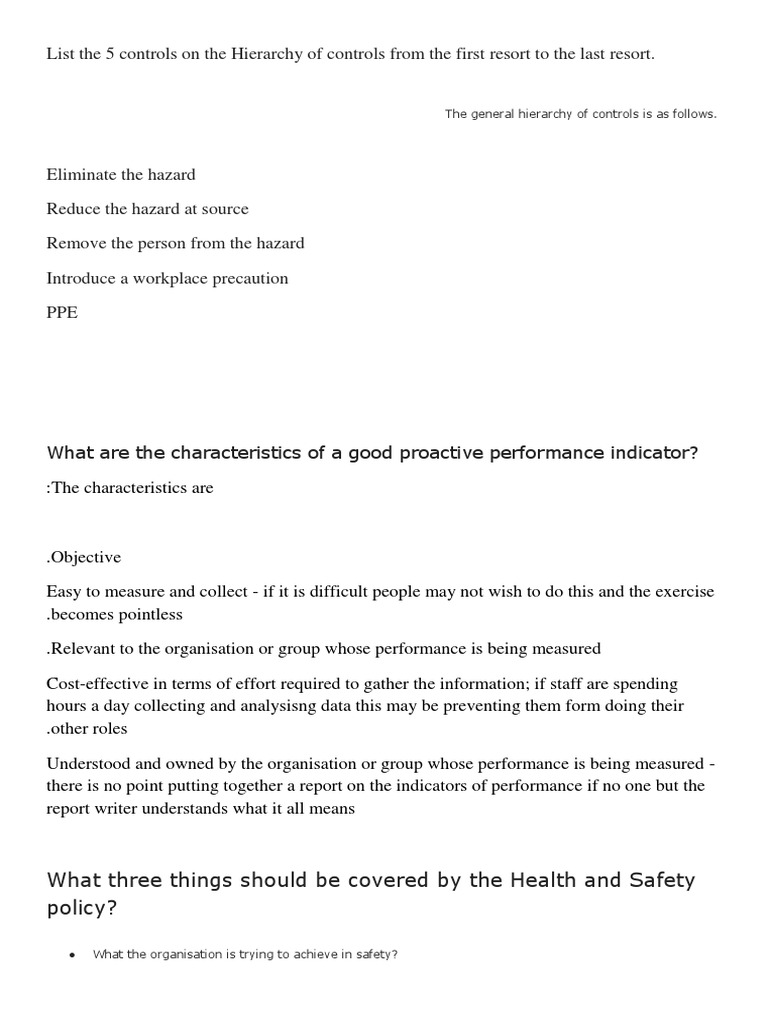 iosh ready questions and answers occupational safety and health