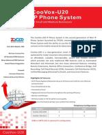 ZYCOO CooVox-U20 SOHO Asterisk IP PBX Appliance Datasheet