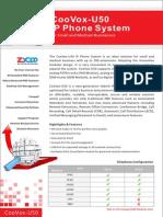 ZYCOO CooVox-U50 SOHO/SMB Asterisk IP PBX Appliance Datasheet
