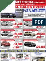 Toyota of Palo Alto Sunnyvale Mountain View - Print Ad Used Cars Corolla Yaris Camry Prius Highlander Rav4 April 8, 2010