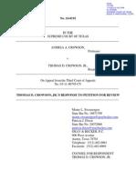 Texas Supreme Court 14-0192 Response to Petition (1) Tom Crowson