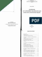 Apophonie Et Categories Grammaticales Dans Baltique -Petit