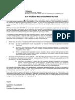FDA Statement to Ao-2010-0008