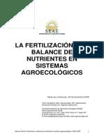 La Fertilización y Balance de Nutrientes en Sistemas Agroecológicos