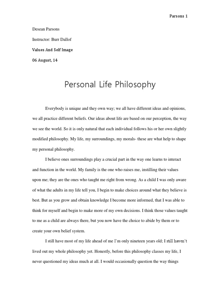 make your own philosophy in life