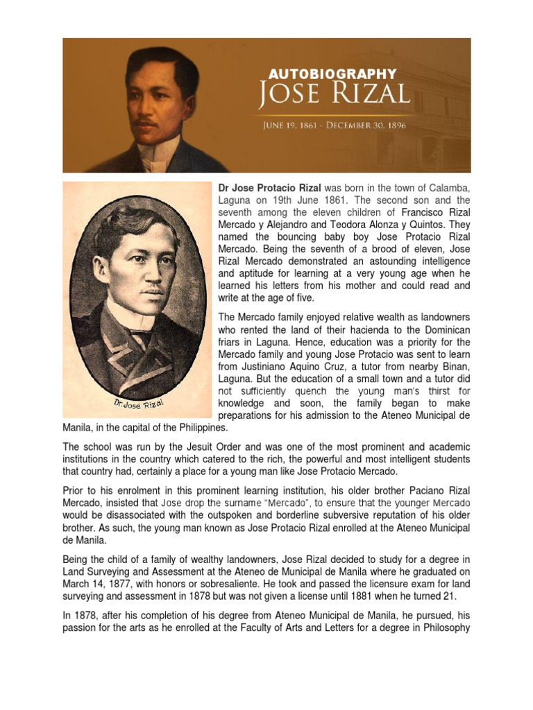 AUTOBIOGRAPHY and Genealogy of Rizal   Philippines
