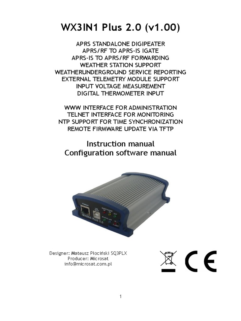 Wx3in1plus20 v100 Manual English | Usb | Telemetry