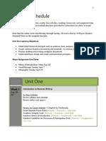 Unit One Course Schedule