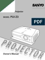 Sanyo PLV-Z3 Manual