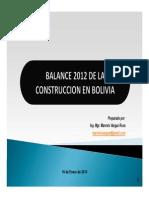 Balance 2012 de La Construcción en Bolivia