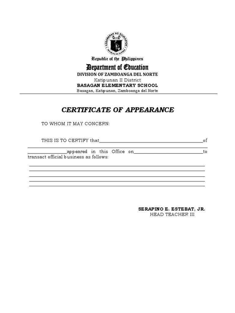 certificate of appearance. Black Bedroom Furniture Sets. Home Design Ideas