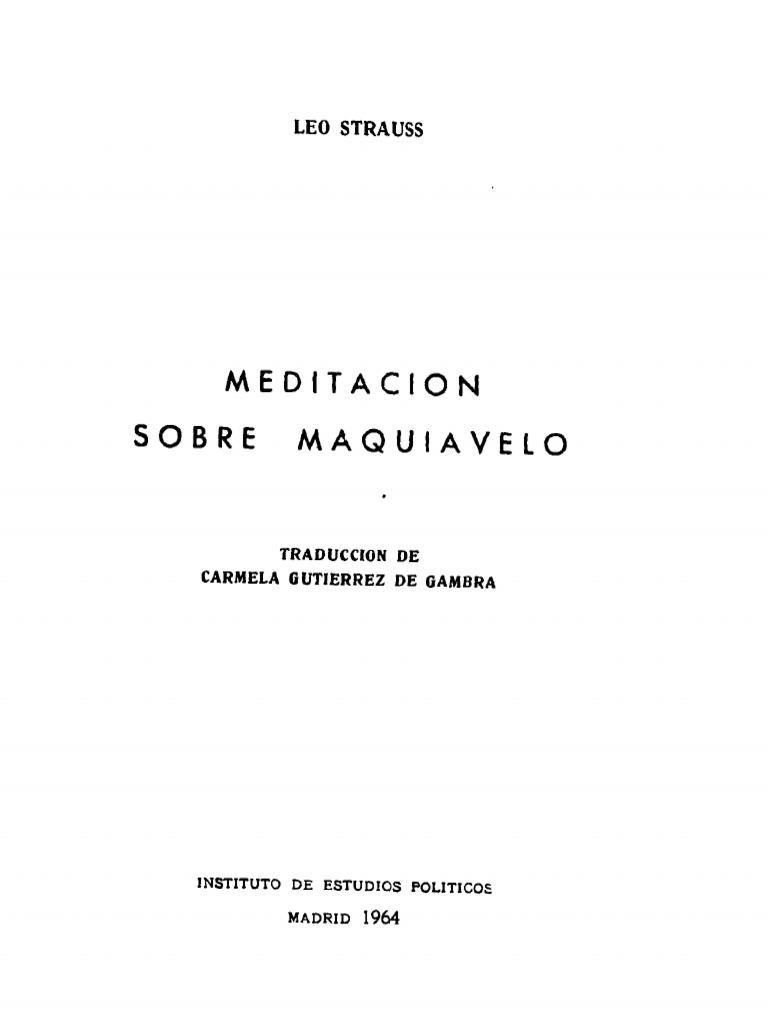 Strauss, Leo - Meditacion Sobre Maquiavelo Instituto de Estuidios ...