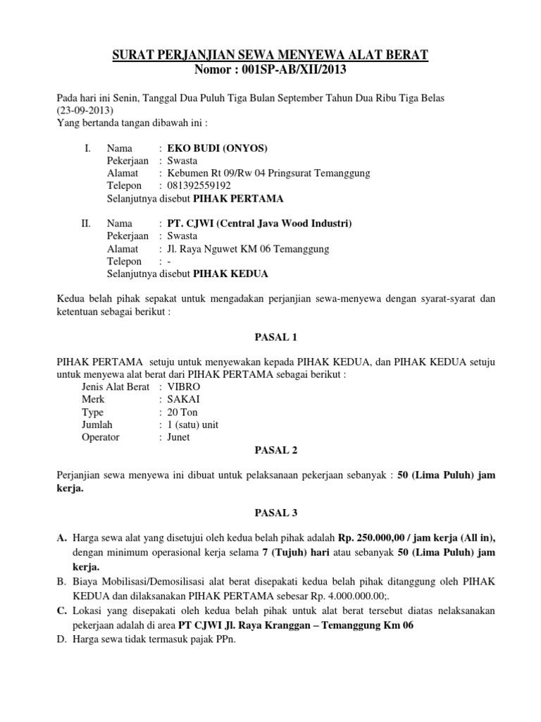 Contoh Surat Perjanjian Sewa Alat Berat Doc Kumpulan Surat Penting