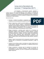 Funciones de La Secretaría de Comunicaciones Y Transportes
