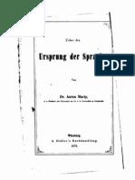 Marty, Anton (1847-1914) - Über den Ursprung der Sprache