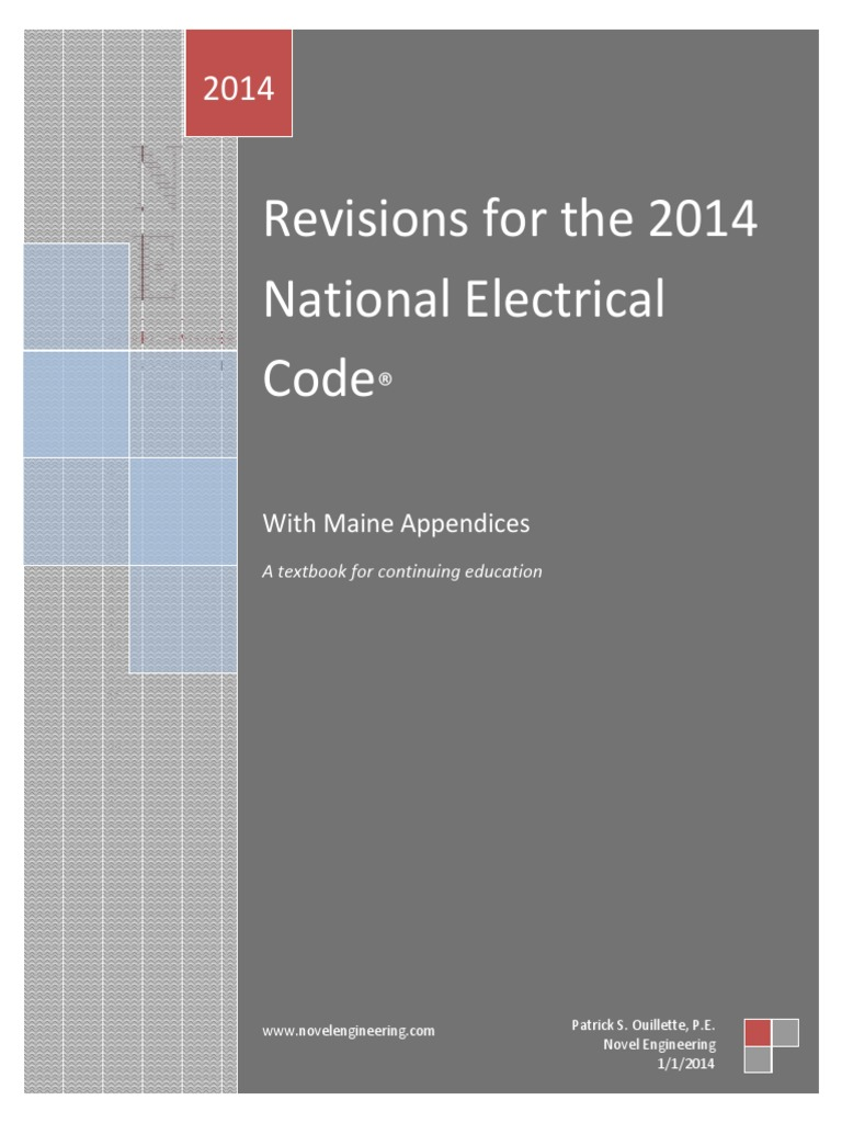 Revisions For The 2014 Nec With Cover First Printing Electrical Wire Color Code Additionally Thomas And Betts Duct On Iec Wiring Cable
