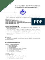 PROGRAMA DE DISCIPLINA- CÁLCULO III