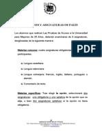 Opciones y Asignaturas PAU