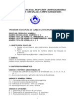 PROGRAMA DE TEORIA DOS NÚMEROS