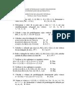 lista de exercícios produto vetorial.