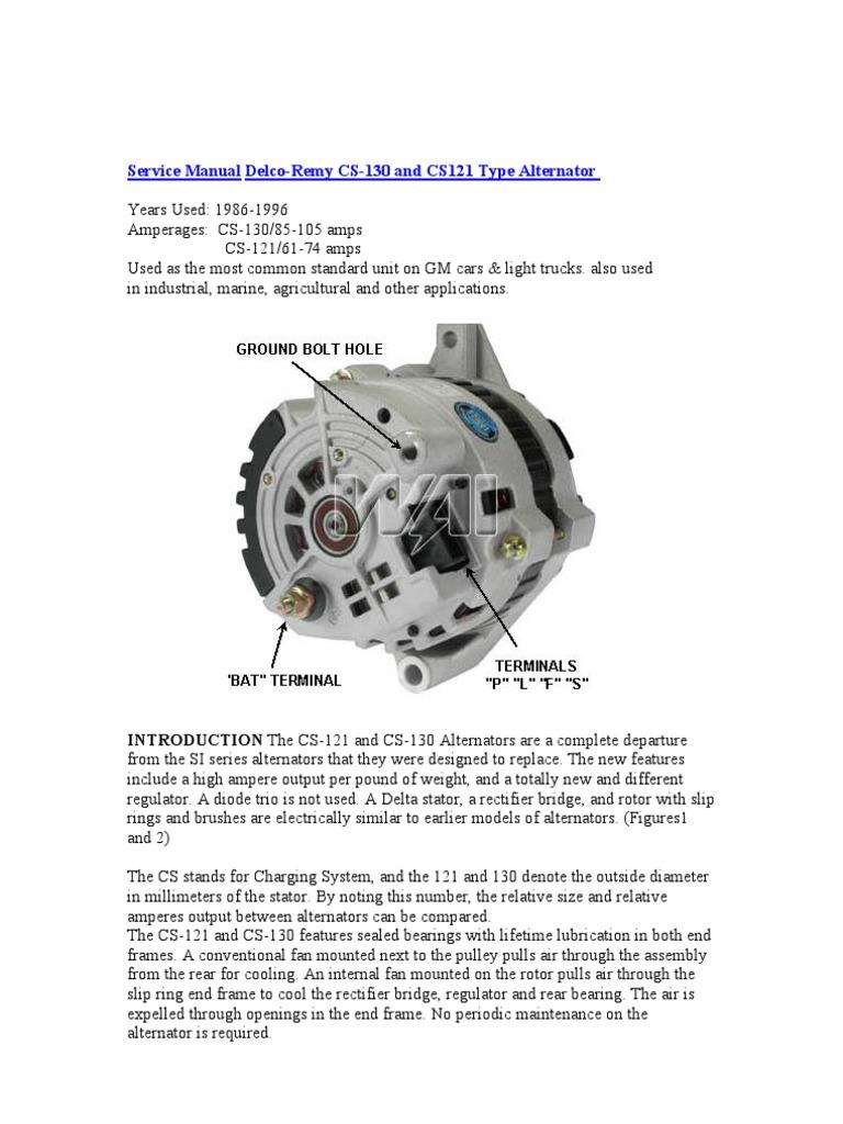 Delco Remy Cs130 Alternator Wiring Diagram - Wiring Diagrams Schematics