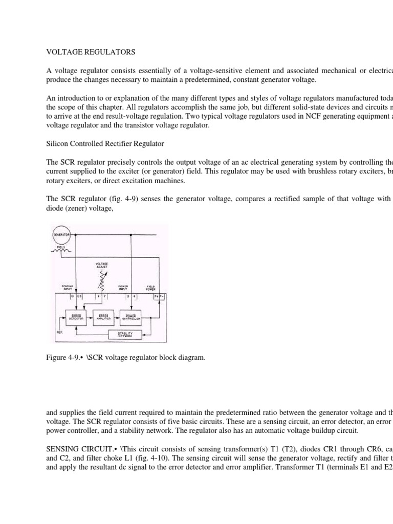 Excitation Rectifier Amplifier Four Components A Silicon Controlled Or Scr Zener Diode