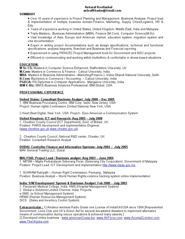 Cv For Uk College Master Of Business Administration United Kingdom