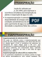 Apresentação 1 Evapotranspiração Profº Ricardo