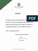 Ata da Reunião Extraordinária do Conselho de Administração do Banco de Portugal