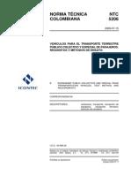 Ntc 5206 Vehículos Para El Transporte Terrestre Público Colectivo y Especial de Pasajeros- Requisitos y Métodos de Ensayo- 20090715