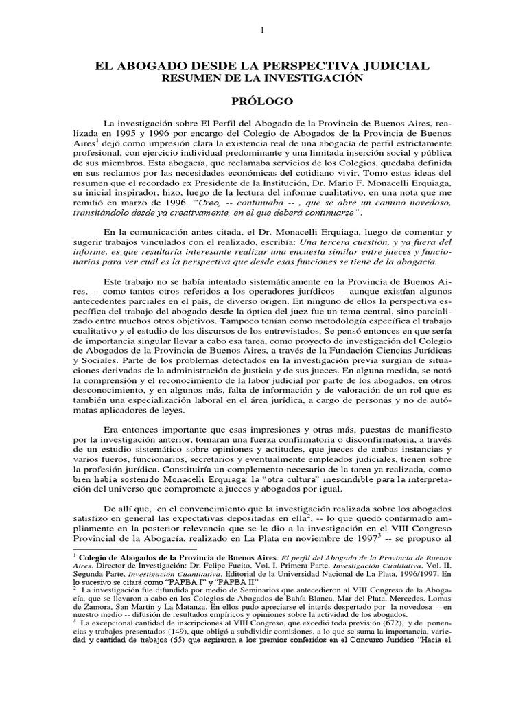 Resumen El Abogado Desde La Perspectiva Judicial (2a Investigación)