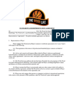 standard player representation agreement