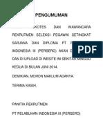 Pengumuman tes kesehatan PT.Pelindo III