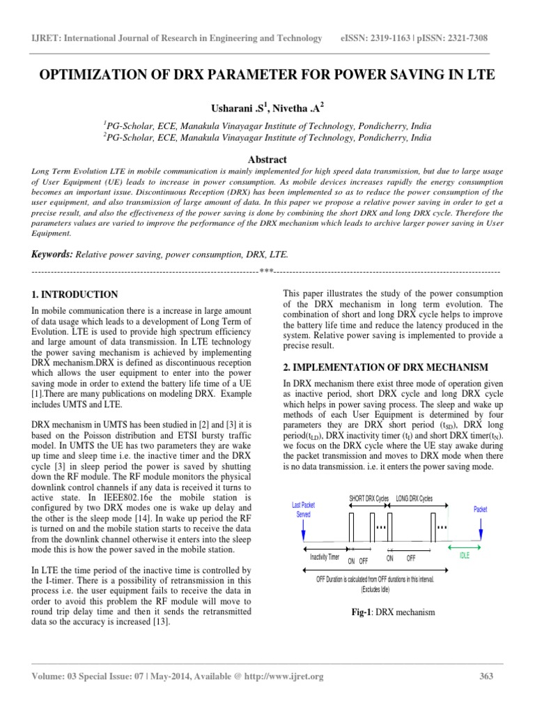 Optimization of Drx Parameter for Power Saving in Lte | Lte