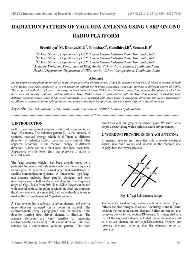 Radiation Pattern of Yagi-uda Antenna Using Usrp on Gnu