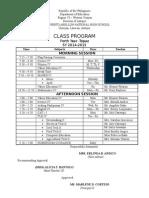 Class Program CRANS Mrs Erlinda Andico