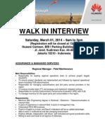 Huawei Walk in Interview - Jakarta Mar 01 2014