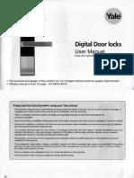 Yale YDM3109 Digital Lock User Manual
