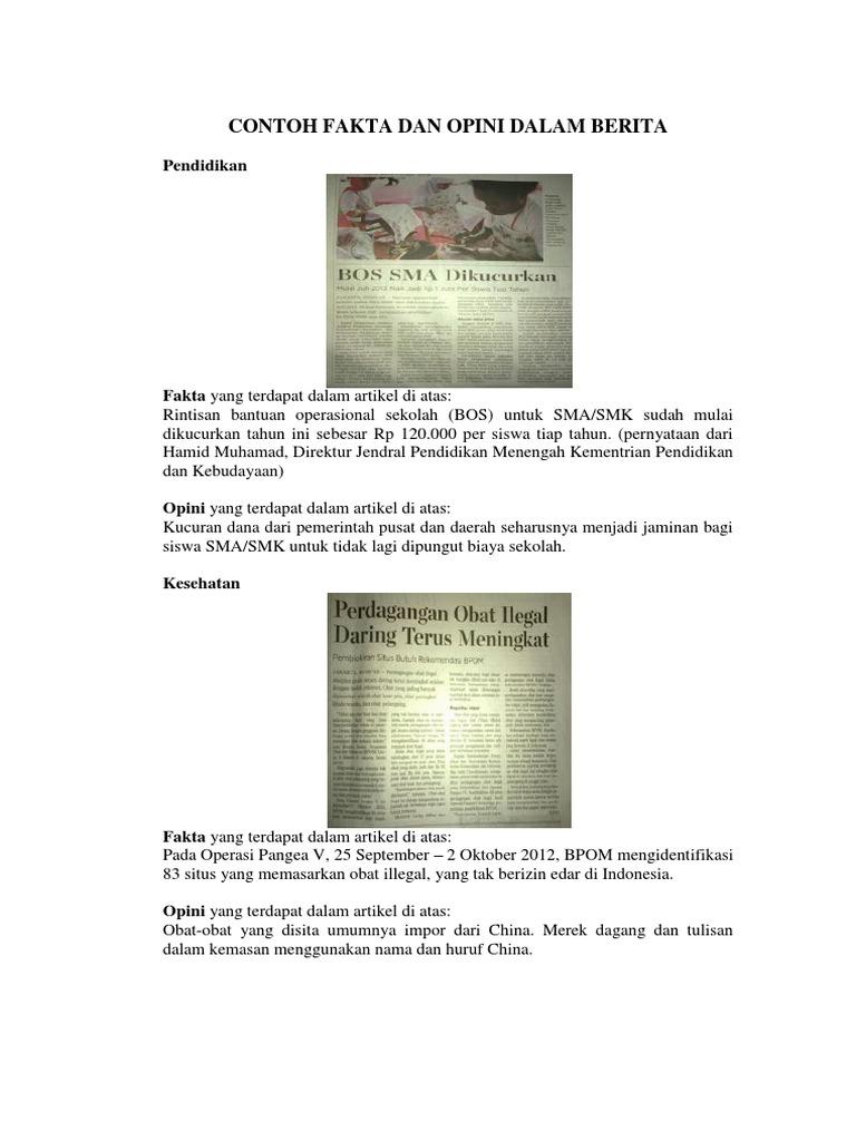 Contoh Fakta Dan Opini Dalam Berita
