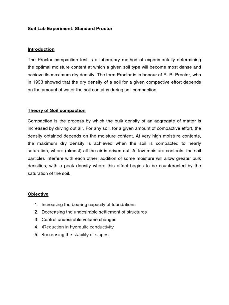 Standard Proctor   PDF   Soil   Density