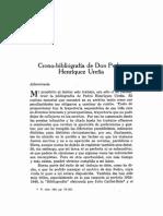 Crono-bibliografía de Don Pedro Henríquez Ureña