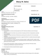 recent teaching resume internet 2